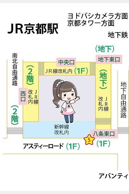 JR京都駅の構内図と待ち合わせ場所マップ