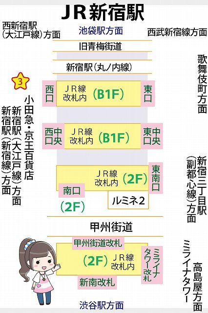 JR新宿駅のわかりやすい構内図と待ち合わせ場所3