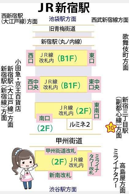 JR新宿駅待ち合わせ場所マップ