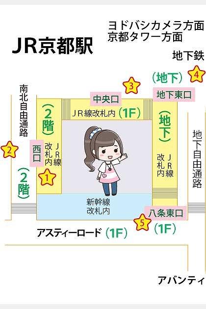 JR京都駅の構内図と待ち合わせ場所一覧マップ