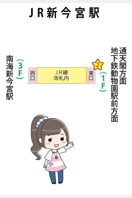 JR新今宮駅の構内図と待ち合わせ場所マップ