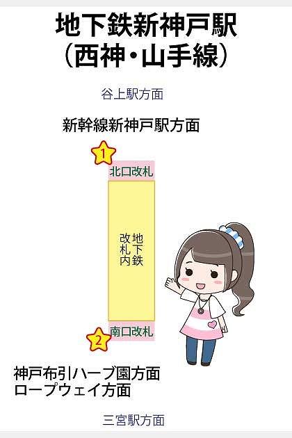 地下鉄新神戸駅(西神・山手線)の構内図と待ち合わせ場所一覧マップ