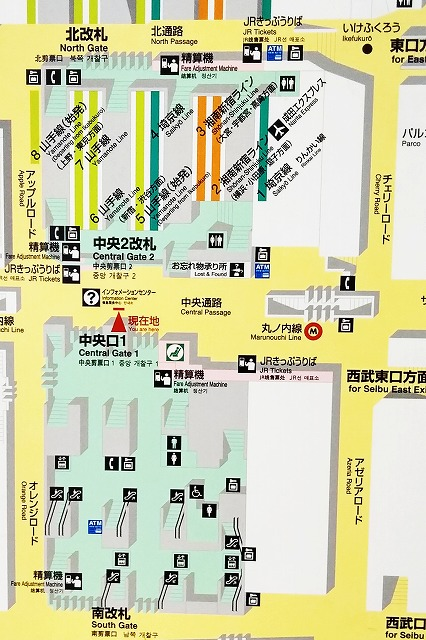 JR池袋駅の構内図