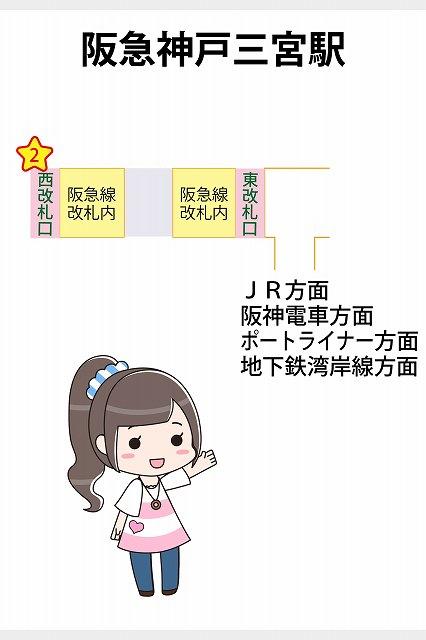 阪急神戸三宮駅の待ち合わせ場所マップ2