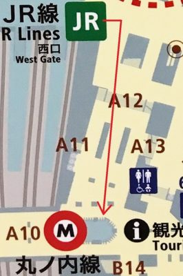 JR新宿駅「西口」改札から丸ノ内線新宿駅「西改札」への道順マップ
